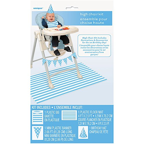Unique Party 63426 - Blue 1st Birthday High Chair Decorating Kit, Set of 4