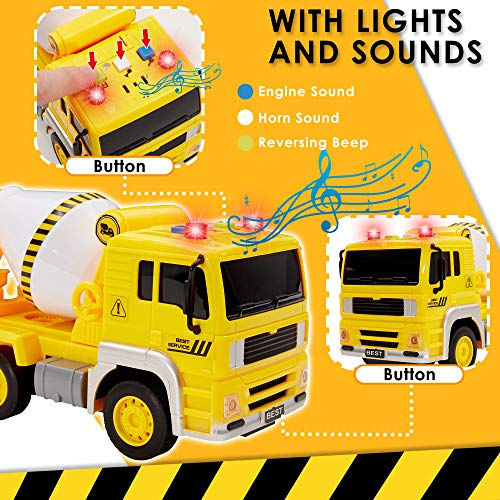 Buyger Cement Mixer Truck Toy Car for 3 4 5 Year Old Boys Girls, Friction Powered Construction Truck, with Lights and Sounds