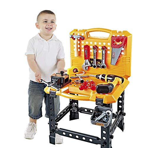 Toy Choi's 83 Pieces Kids Construction Toy Workbench for Toddlers, Kids Tool Bench Construction Set with Tools and Drill, Children Toy Shop Tools for Boys and Girls