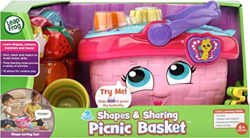 LeapFrog 603603 Shapes & Sharing Picnic Basket Baby Toy Educational and Interactive 16 Pieces for Creative and Learning Play For Boys & Girls 6 months, 1,2,3 Year Olds, Pink, One Size