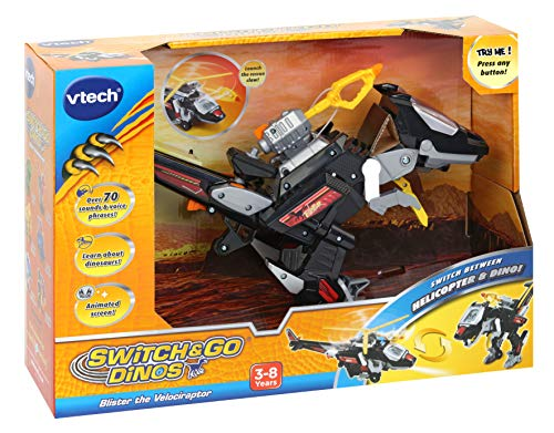 VTech Switch & Go Dinos, Commander Blister the Velociraptor Kids Toy, Interactive Preschool Dinosaur Toy that Switches Into Helicopter, Educational Toy for Children Boys & Girls 3, 4, 5, 6+ Year Olds