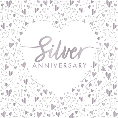 "Creative Party J042 Silver Anniversary 3-Ply Foil Stamped Paper Luncheon Napkins, 13""-16 Pcs"