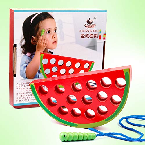 Coogam Wooden Watermelon Threading Toys Wood Block Puzzle Travel Game Early Learning Fine Motor Skills Montessori Educational Gift for Years Old Toddlers Baby Kids
