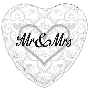"Heart Shaped Mr & Mrs 18"" Foil Balloon"