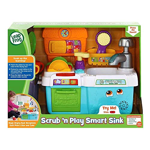 LeapFrog Scrub & Play Toy Sink Toy, Play Kitchen Accessories for Pretend Play with Shape Sorting, Counting and Colours, Toddler Toys for Boys & Girls 2, 3, 4, 5 Year Olds