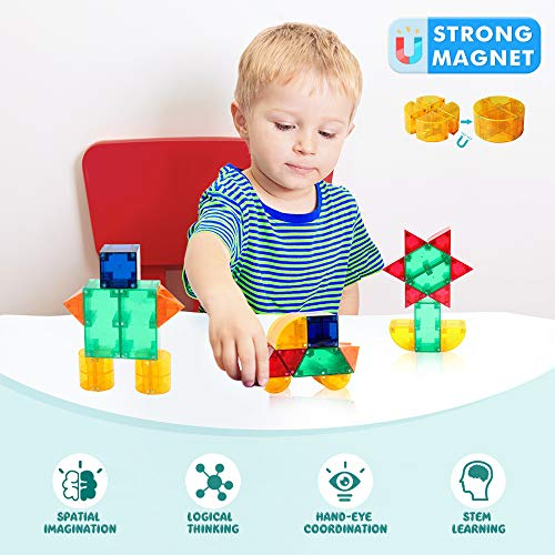 VATOS Magnetic Building Toys STEM Magnet Tiles Toys for Kids 3+, Creativity & Educational 3D Building Blocks Set of 44 Pieces of 8 Shapes, Magnet Toy Gift for 3-12 Boys and Girls Birthday (44PCS)