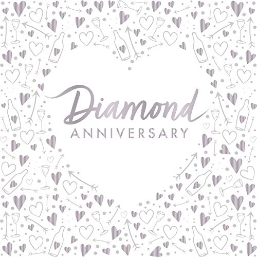 "Creative Party J045 Diamond Anniversary 3-Ply Foil Stamped Paper Luncheon Napkins, 13""-16 Pcs"