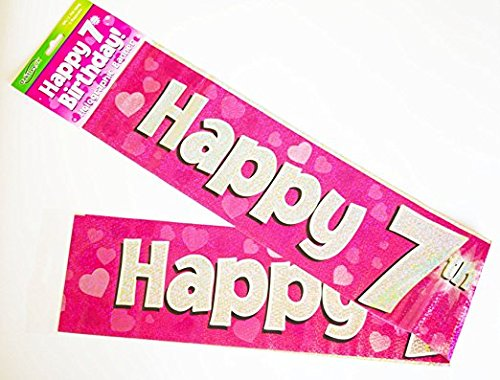 "OakTree 624399"" Happy 7th Birthday Foil Holographic Banner, Pink/BPWFA-3944, 9 ft"