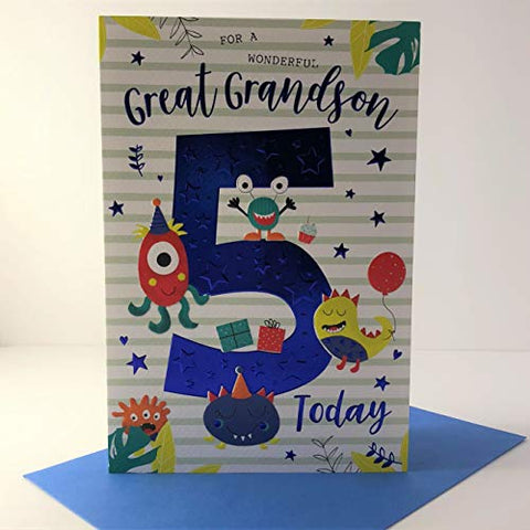 ICG Wonderful Great Grandson 5 Today Age 5 Birthday Card