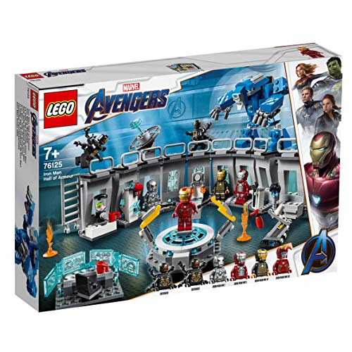 LEGO 76125 Marvel Avengers Iron Man Hall of Armor, Modular Lab with 6 Marvel Universe Minifigures, Superhero Playset