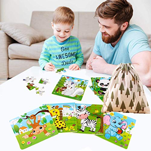 Felly Wooden Jigsaw Puzzles, Jigsaw Puzzles for Kids, Preschool Educational Montessori Learning Toys Set Animals Puzzles for 2 3 4 Years Old Toddler Boys and Girls (6 Pack)