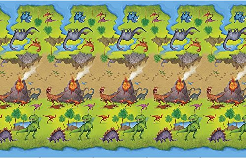 Unique Party 58313 - Dinosaur Plastic Tablecloth, 7ft x 4.5ft