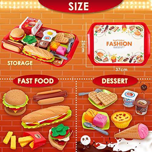 Buyger 63 PCS Play Toy Food Set for Children Hamburger Role Play Kitchen Toy 3 Year Old Girl Boy Gift