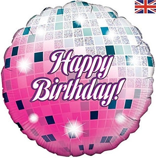 Happy Birthday Glitterball Holographic Foil Balloon 18""