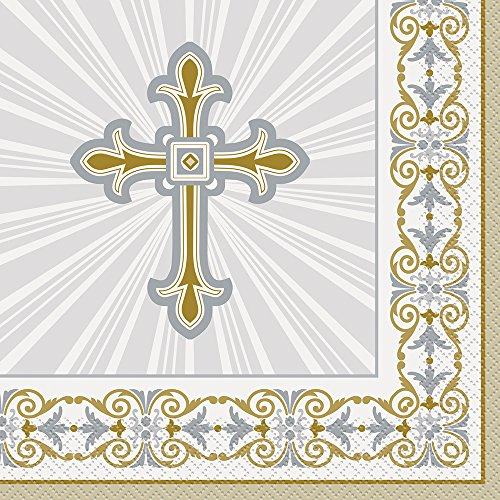 Unique Industries 43862 Gold & Silver Radiant Cross Religious Party Napkins, 16ct, Paper, Gold/Silver
