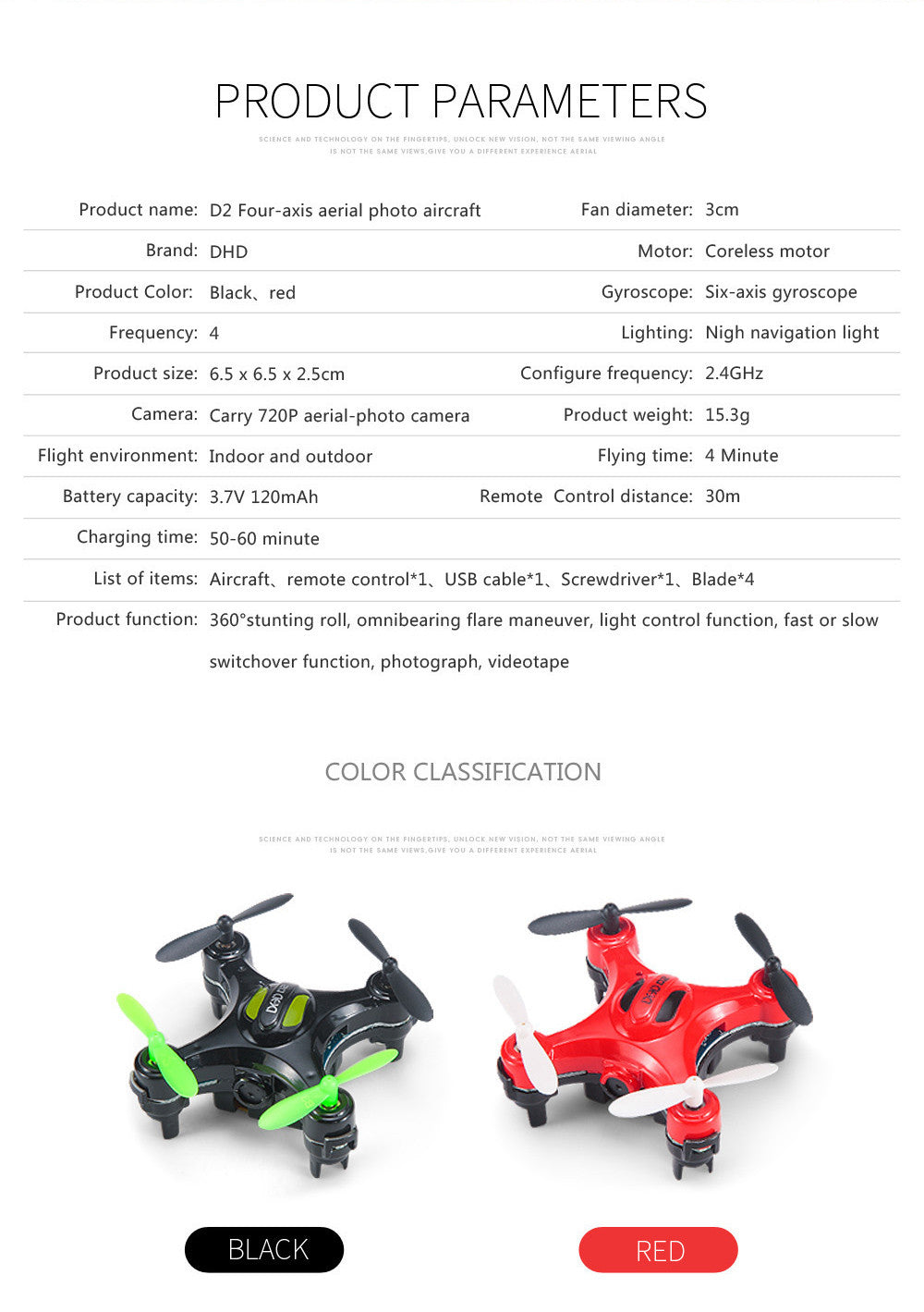 DHD D2 Mini Drone with Camera 2.4G 4CH 6-axis RC Quadcopter Nano Drone RC Pocket Drone