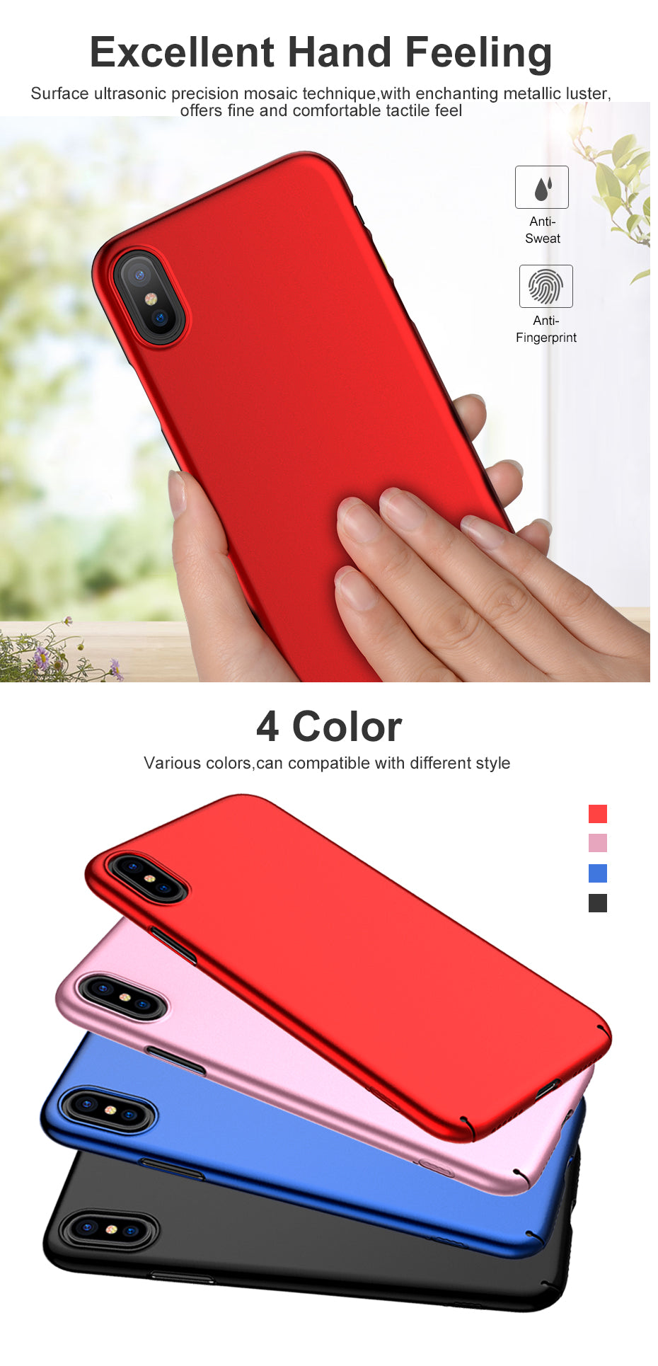 ICONFLANG for iPhone X Cover Case Slim Hardness PC Protective Phone Case Accessories New Phone Shell Case for iPhone X