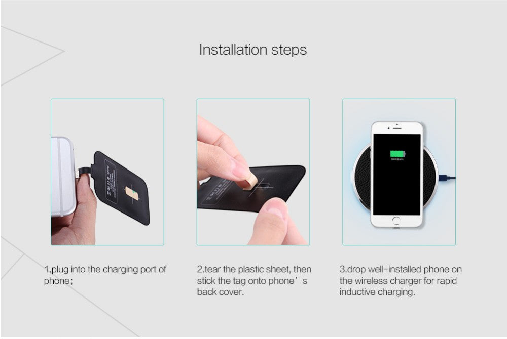 Nillkin Universal Qi Wireless Charger Receiver magic tag Charging Adapter Receptor iphone5s se 6 6s meizu huawei Micro USB phone