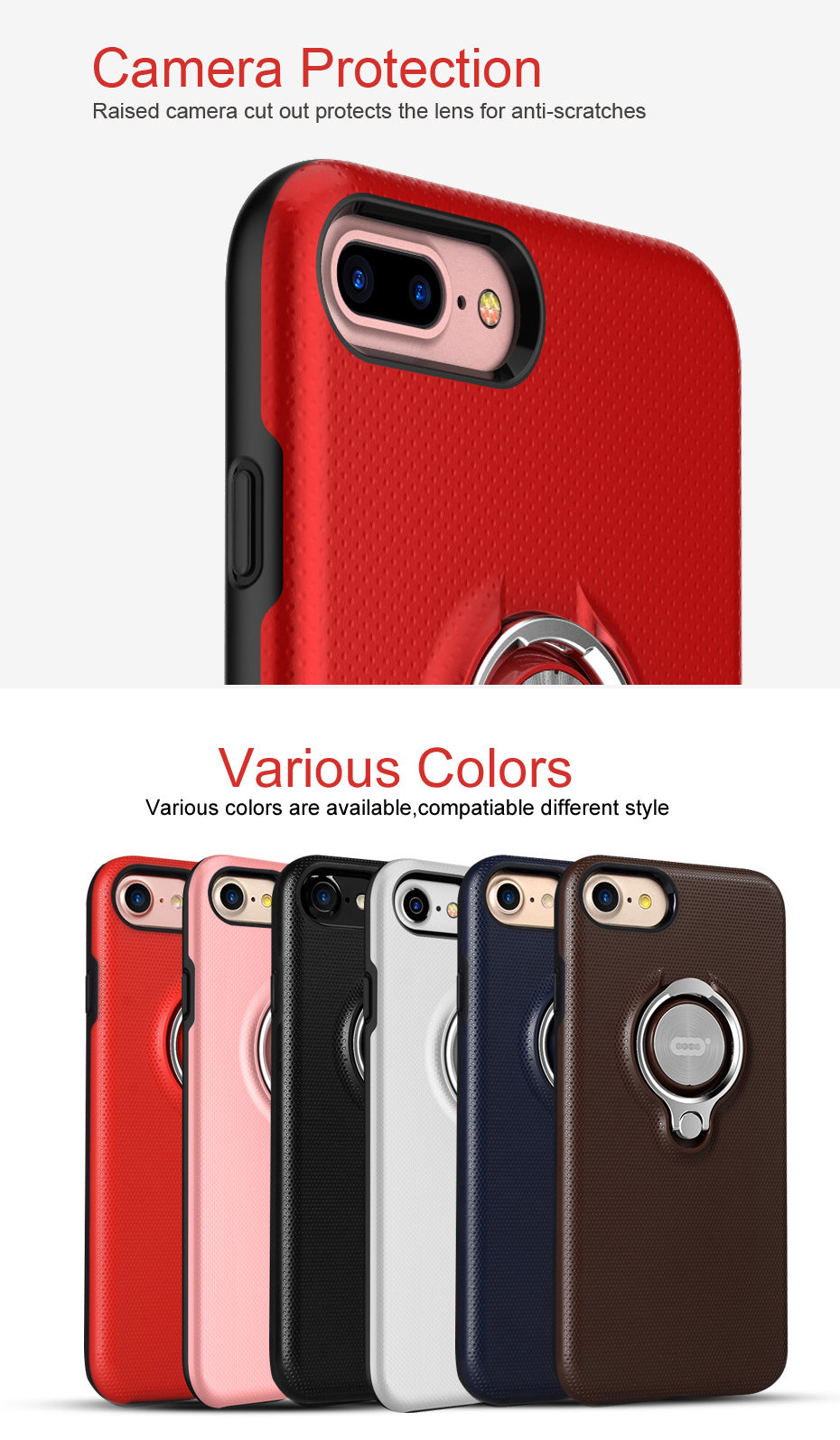 ICONFLANG Phone Case For iphone 7 7plus New Fashion Red Black Blue Colorful Hard PC Phone Cover with Ring Holder Back Shell