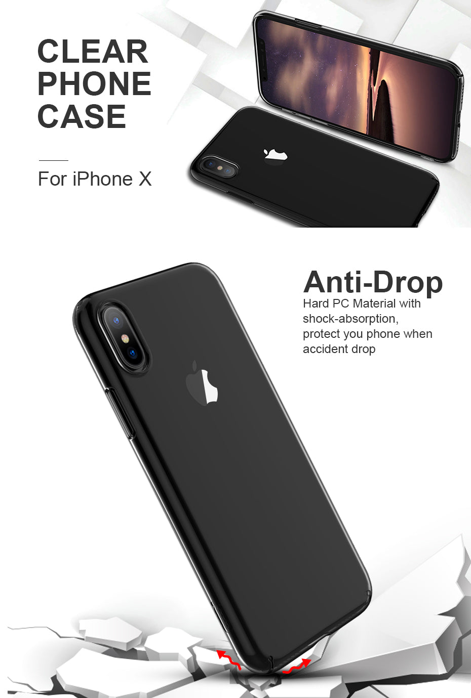 For iPhone X Case, ICONFLANG Transparent Ultra Slim PC Hard Full Phone Back Capa For Apple iPhone X Cases Shell Cover