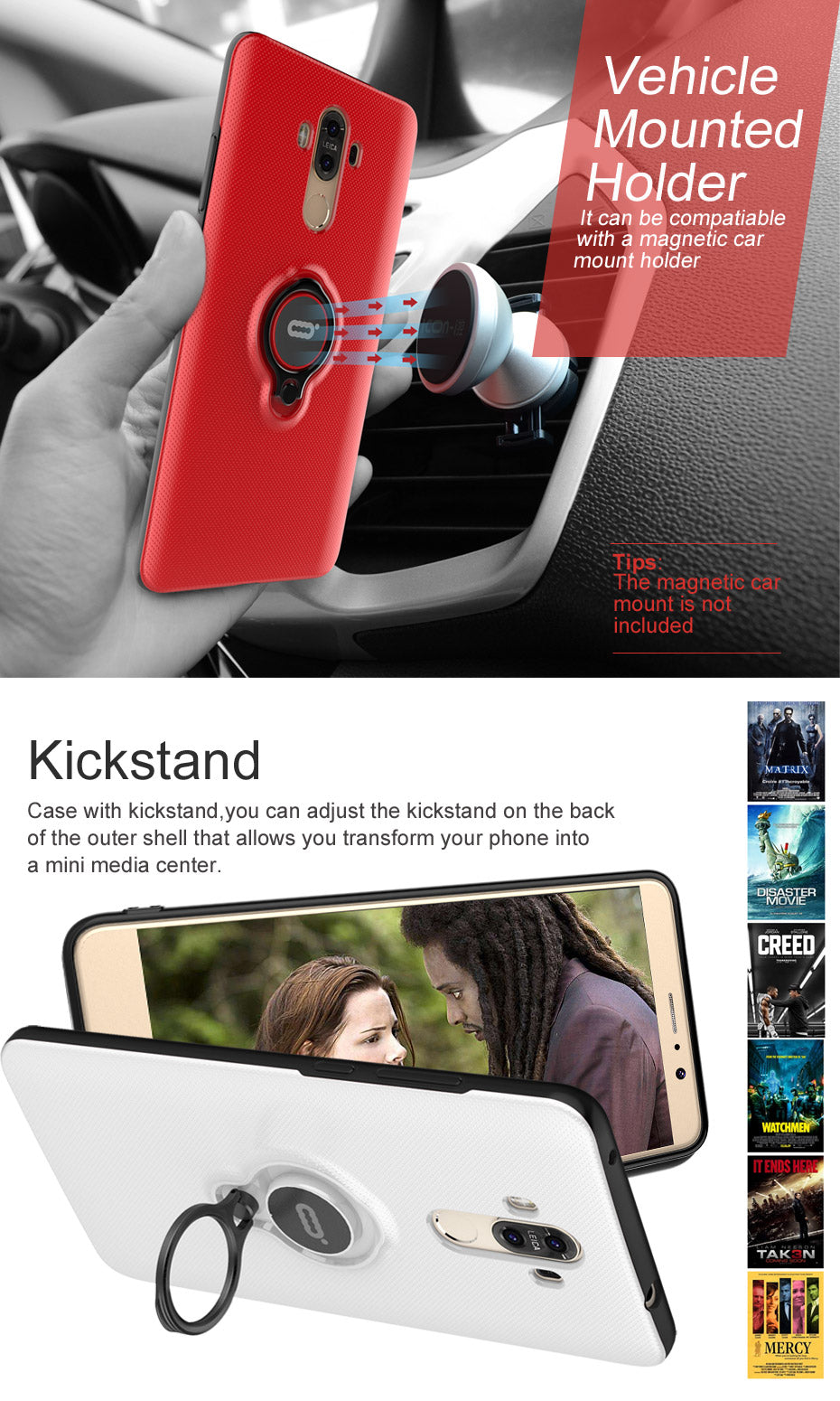 ICONFLANG Phone Cover For Huawei Mate 9 Ring Case with Kickstand for Huawei Mate 9 Pro Back Shell Shockproof case