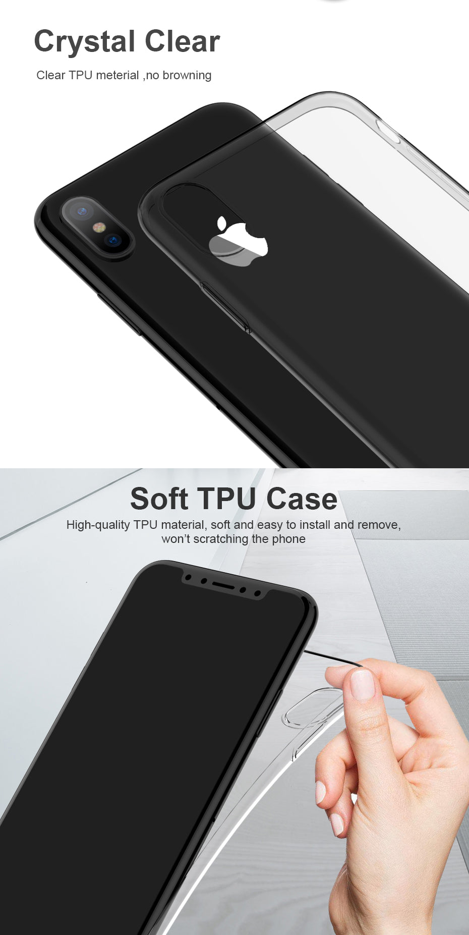 For iPhone X Case Cover ICONFLANG Soft Silicone TPU Transparent Case For Apple iPhone X Back Fundas Shell
