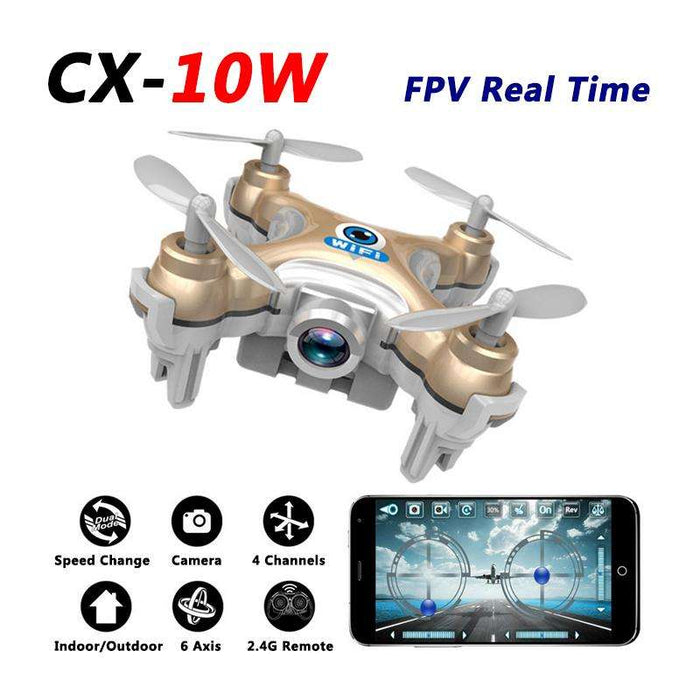 Cheerson CX-10W Mini WiFi FPV Drone With 720P Camera 2.4G 4CH 6 Axis LED RC Quadcopter - Gadget World