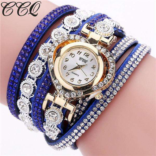 CCQ Brand Fashion Luxury Rhinestone Bracelet Watch Ladies Quartz Watch Casual Women Wrist Watch Relogio Feminino Gift C99 - Gadget World