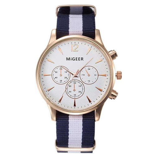MIGEER Luxury Fashion Black & White Strap Watch Men Quartz Watch Casual Males Sport Business Wrist Men Watch,relogio masculino - Gadget World