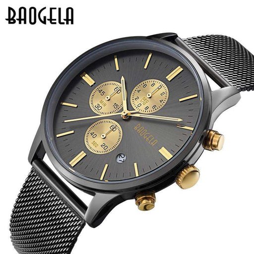 Men's Watches BAOGELA Fashion Sports quartz-watch stainless steel mesh Brand men watches Multi-function Wristwatch Chronograph - Gadget World