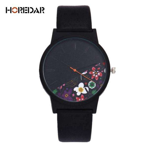 New Vintage Leather Women Watches 2017 Luxury Top Brand Floral Pattern Casual Quartz Watch Women Clock Relogio Feminino - Gadget World