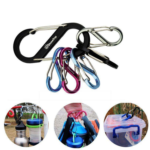 Flat S Shape Camping Carabiner Aluminum Survival Camping Equipment EDC Paracord Buckles Hooks - Gadget World