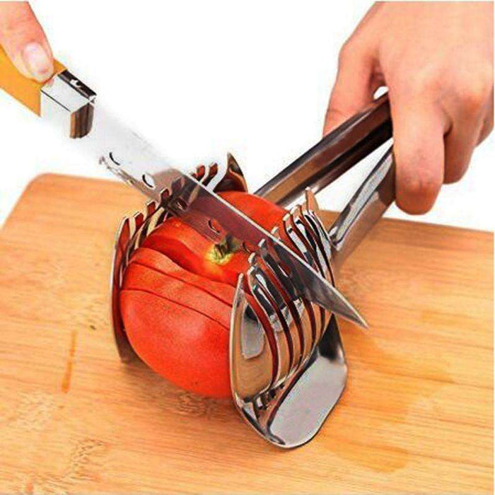 Tomato Slicer Lemon Cutter Handheld Round Fruit Tongs Stainless Steel Onion Holder Cutting Aid Gadget Tool - Gadget World
