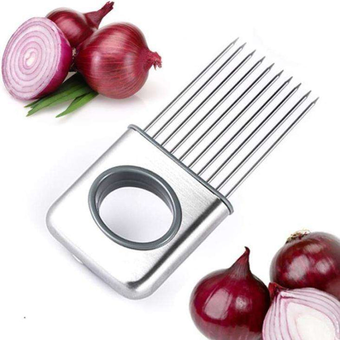 Easy Onion Holder Slicer Vegetable Tools Tomato Cutter Stainless Steel Kitchen Gadgets No More Stinky Hands - Gadget World