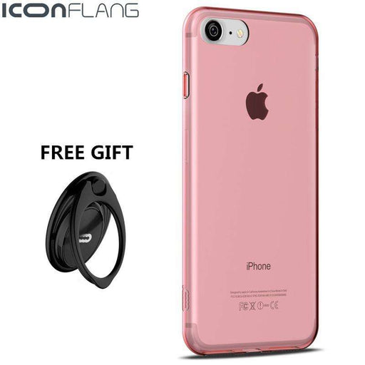 ICONFLANG Ultra Thin Transparent Soft TPU Cover For iPhone 7 With FREE Ring - Gadget World