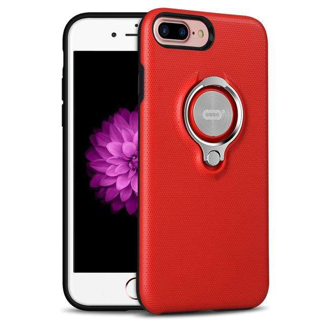 ICONFLANG Case iPhone 7 and 7 Plus New Fashion Red Black Blue Colorful Hard with Ring Holder - Gadget World
