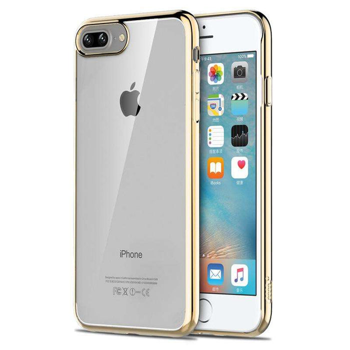 ICONFLANG Premium Clear Shockproof Plating Metal Texture Skin Protector Case for iPhone 7 and 7 Plus - Gadget World