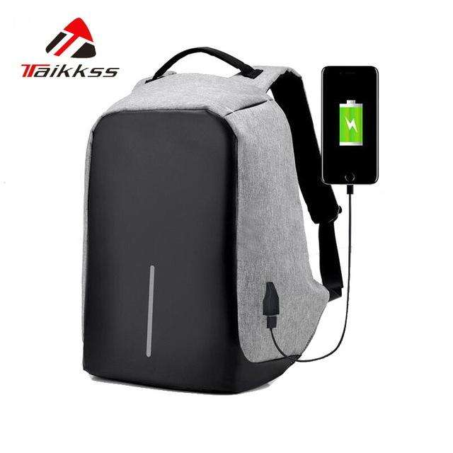 Stylish Anti-Theft Backpack With USB Charger - Gadget World