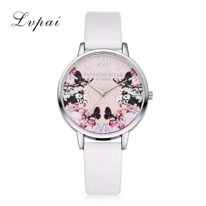 Lvpai Luxury Leather Women Dress Watches Wristwatch Fashion Flower Butterfly Ladies Bracelet Female Round Clock Quartz Watch - Gadget World