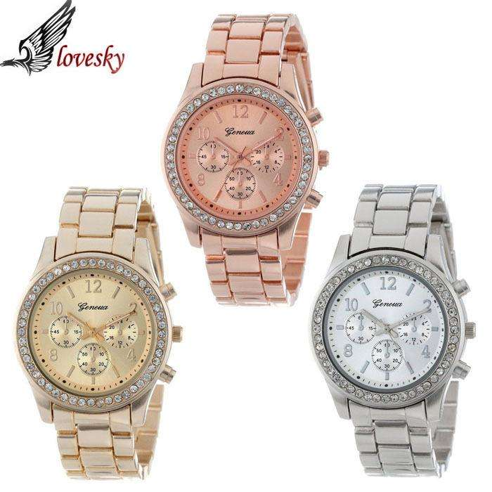 Lovesky 2017 New Fashion Faux Chronograph Plated Classic Geneva Quartz Ladies Watch Women Crystals Wristwatches Relogio Feminino - Gadget World