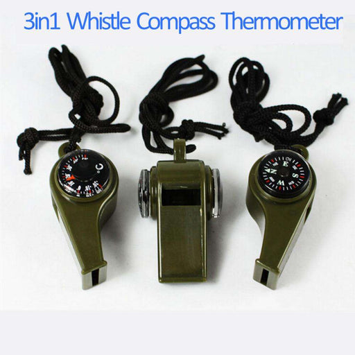Whistle Compass 3-in-1 Survival Camping Thermometer - Gadget World