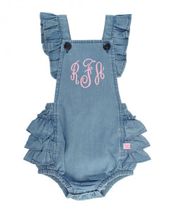 Light Wash Denim Flutter Overall Romper - Matarow