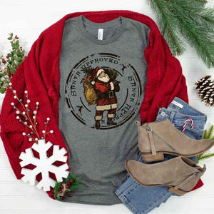 Santa Approved Tee on Grey