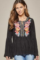 Black Stripe Embroidered Top