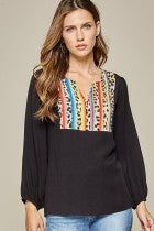 Tunic Blouse with Split Leopard Neckline