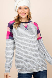 Light Grey Stripe Multi Color Long Sleeve