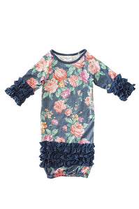 Grey floral baby gown