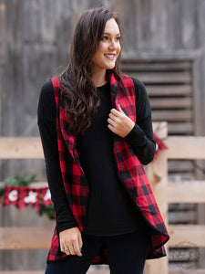 Buffalo Plaid Vest with Suede Trim