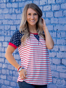 Backyard BBQ Striped Top With Star - Matarow