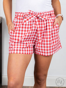Red Gingham Ruffle Shorts with Waist Tie - Matarow